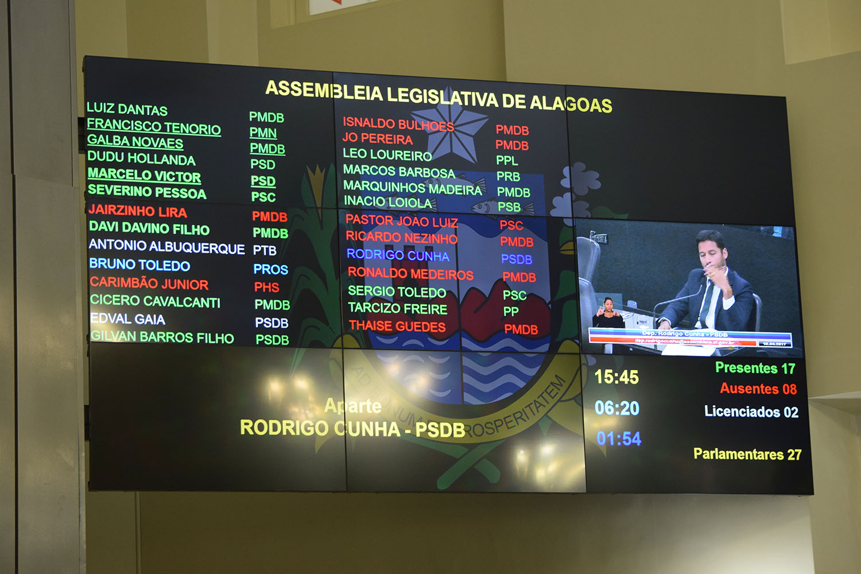 Telão contabiliza presença de 17 parlamentares.JPG
