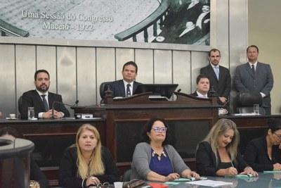 Mesa Diretora foi formada pelos deputados Marcelo Victor, Paulo Dantas e Davi Davino.JPG