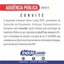 Inácio Loiola convida a sociedade para audiência pública sobre a LDO 2019
