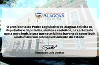 Presidente Luiz Dantas parabeniza nova bancada da Assembleia